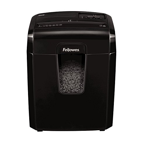 Fellowes 8Mc - Destructora trituradora de papel, corte en Micropartículas, 8 hojas, negro