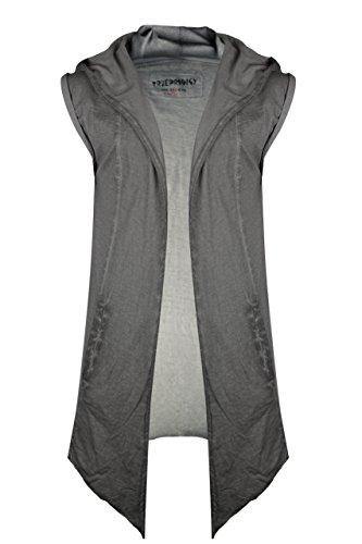 trueprodigy casuale uomo giacca felpa uni semplice, abbigliamento urban moda con cappuccio (manica corta & slim fit classic), sweat jacket moda vestiti colore: grigio 1072187-5203 Dark Grey