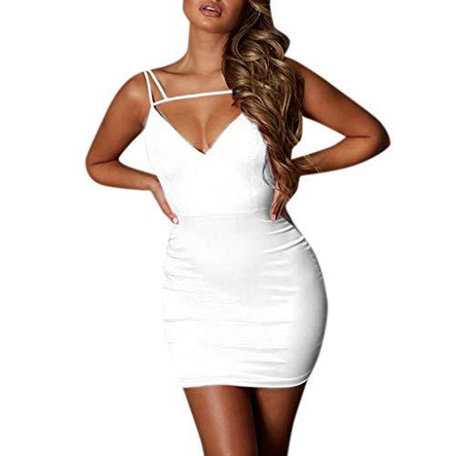 iHENGH Damen Sommer Rock Lässig Mode Kleider Bequem Frauen Röcke Sexy Damenmode Damen Solide Corlor Hollow Cat V Ausschnitt Schlank Minikleid(Weiß, M) (Kleid Roten Kardashian Kim)
