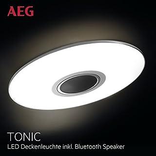AEG LED Deckenleuchte Bluetooth Musik Lautsprecher, 1x 24W LED integriert (SMD-Chip), 1x 1700 Lumen, 2800-4500K, Kunststoff / Aluminium, weiß / chrom