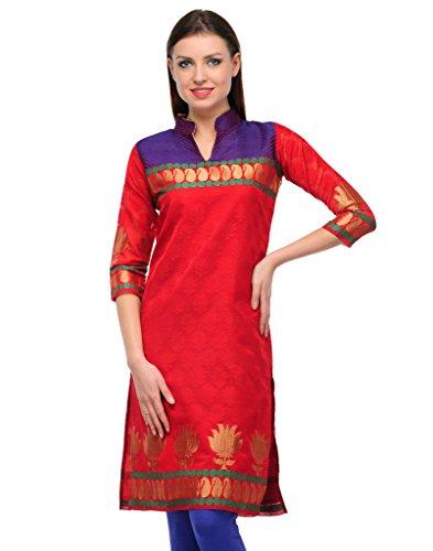 FASHION By The BrandStand Women's Jacquard Kurti (VS_KRT6025_Red_Blu_M, Red, Blue, Medium)