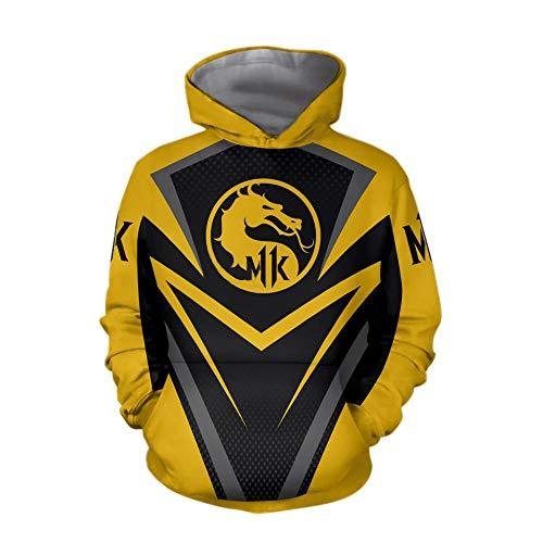 Mortal Kombat Spiel Cosplay T-Shirt Hoodie Sweatshirt Kostüm Halloween Cosplay T-Shirt Reißverschluss/Pullover Jacke (L, Gelb 2)