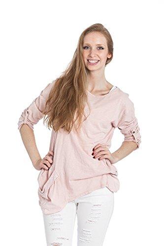 Abbino Shirt 15629 - Made in Italy - Spitze & Festlich - 4 Farben Rosa