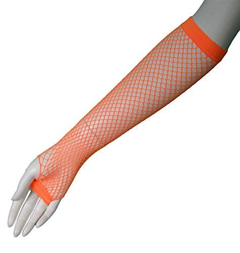 80's Orange Long Fishnet Adult Gloves [Apparel]
