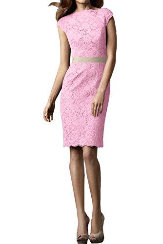 Ivydressing Damen Hochwertig Rundkragen Spitzenklaider Kurz Abendkleider Festkleid Partykleid Rosa