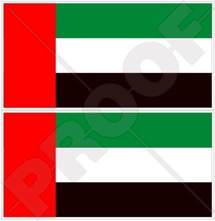 VEREINIGTE ARABISCHE EMIRATE Flagge, Fahne VAE Dubai, Abu Dhabi 110mm Auto & Motorrad Aufkleber, x2 Vinyl Stickers