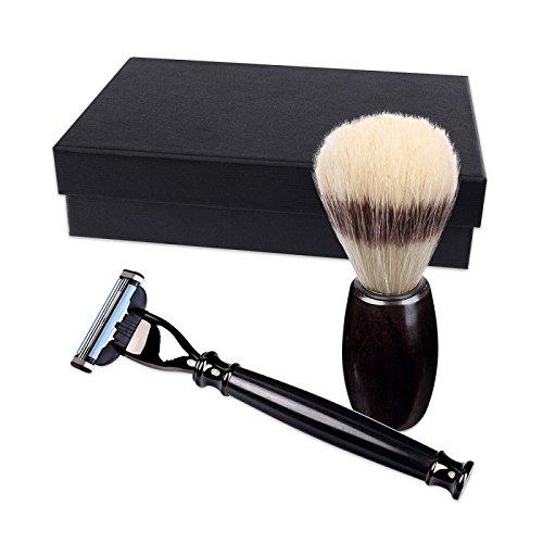 Set de rasage avec rasoir et blaireau, en bois d'ébène, fabriqués à main