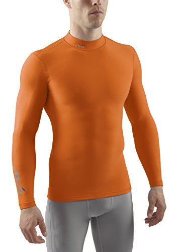Sub Sports Herren Cold Kompressionsshirt Thermisch Funktionswäsche Base Layer Langarm (Mock/Rollkragen), Orange, S, SUBCOLDLongSleeve (Rollkragen-shirt Base Mock Layer)