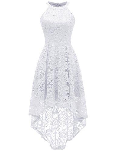 Dressystar Vokuhila Kleid Cocktail Spitzenkleid Halter Sexy Schulterfrei Ballkleid Weiß L