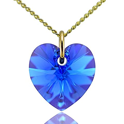 Jewellery-Joia 9carats (375/1000) Or jaune|#Gold Cœur Couleur changeante Bleu Kristall