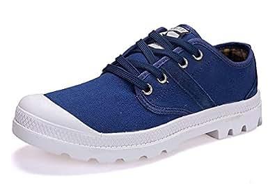 SHOWHOW Herren Bequem Flach Sneakers Freizeitschuhe mit Schnürsenkel Blau 47 EU xDhnKtX