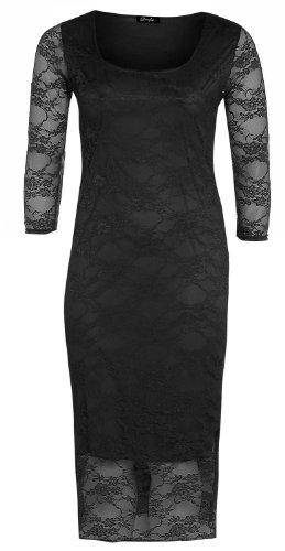 Frauen plus Größe 3/4 Ärmel florale Spitze Kurz lange bodycon Midi-Kleid Black