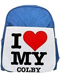 Fotomax I Love My Colby Mochila Azul para niños, Lindas Mochilas, Bonitas Mochilas pequeñas