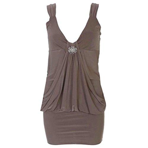Drapé Broche pour femme Mini robe en haut pour femme Robe Tailles 8 à 20 Marron - Moka