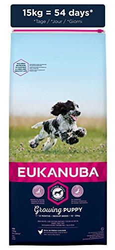 Eukanuba Puppy Medium Breed Trockenfutter (für Welpen mittlerer Hunderassen, Premiumnahrung mit Huhn), 15 kg Beutel - 3