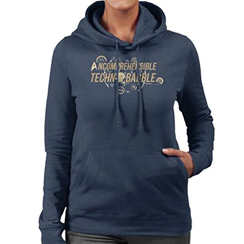 Star Trek Incomprehensible Techno Babble Women's Hooded Sweatshirt Navy blue