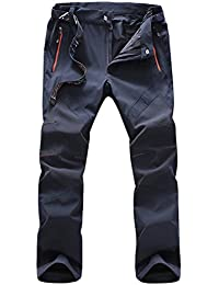 Zhuhaitf Hombre Multi-pockets Quick Dry Walking Trousers Waterproof Windproof Trousers UV Protection Side-Elastic Cargo Pants