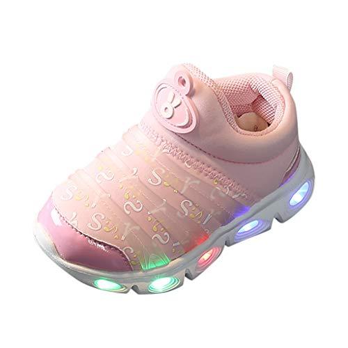 HDUFGJ Kinder LED Leuchtende Sneakers Weiche Sohle Leichtgewicht Turnschuhe Laufschuhe Atmungsaktiv Gummi Sommer Freizeitschuhe22.5(Rosa)