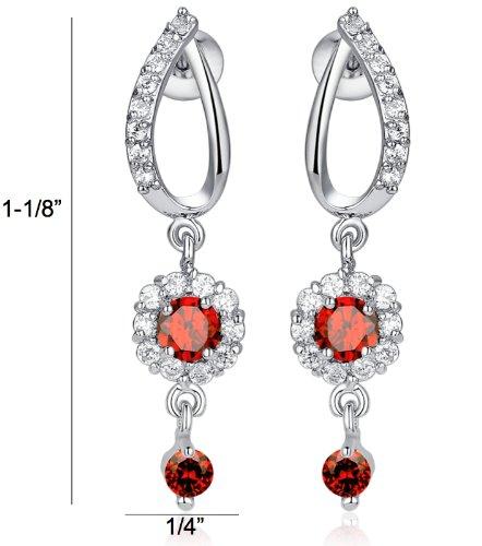 Arco Iris Jewelry Boucles d'oreilles en forme de fleur en zircone cubique rond Red Orange