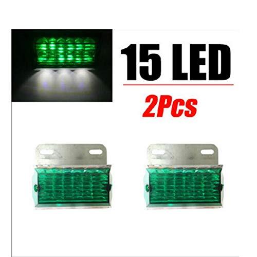 GOFORJUMP 2X Amber 15 LED 15LED Clignotant latéral Clignotant Lumière Ampoule Camion Remorque Caravan SUV ATV 24V Vert