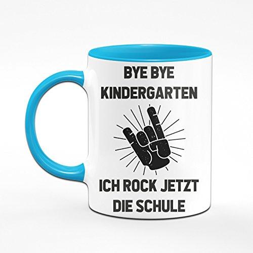 Tasse zur Einschulung - Bye Bye Kindergarten Ich rock jetzt die Schule - Geschenke zur Einschulung - Originelle Geschenke zum Schulanfang für die Schultüte - Einschulungsgeschenke - Farben wählbar (Hellblau) - 2