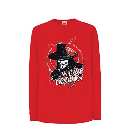 lepni.me Kinder-T-Shirt mit Langen Ärmeln Wir sind Legion - Vendetta - Die Maske von Anonym (9-11 Years Rot Mehrfarben)