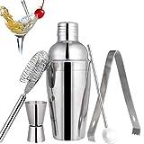 Lychee Cocktail Shaker Set, 5 Pezzi Kit da Barman in Acciaio Inox Professionale 550ml Shaker con Accessori: misurino, Cucchiaio Mixer, beccucci, pinze per Ghiaccio,Set di strumenti Bar Jigger