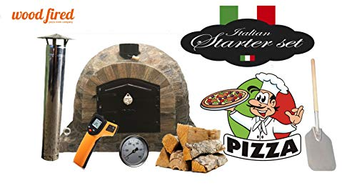 Original Pro-Deluxe Stone Wood Fired Pizza Oven Stater Kit With Black Door And Stone Arch 100Cm