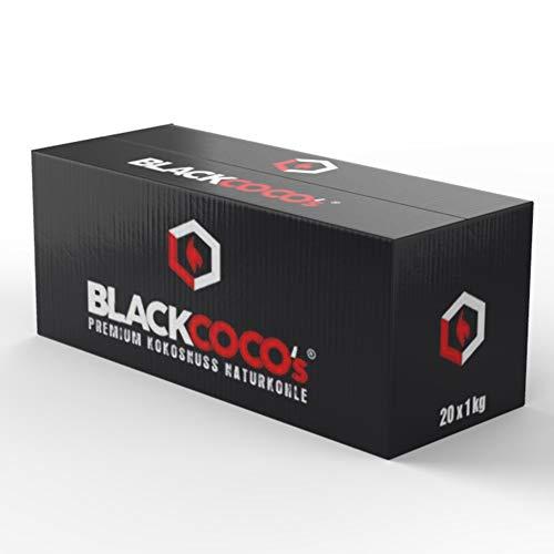 BLACKCOCO's - 20 KG Premium Shisha Kohle Naturkohle Kokosnuss und BBQ - Hochwertige Kokos Coal Briketts für Wasserpfeife & Grill - Shisha Würfel Kohlen & Grillkohle mit Langer Brenndauer