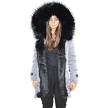 hot sale online f71fe 57884 parka donna invernale con pelliccia - Grigio - Amazon.it