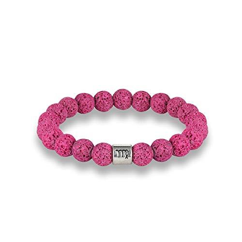 Awertaweyt Edelstein Perlen Armband Fashion 12 Zodiac Signs Beads Bracelets Handmade Vintage Lava Stone Beads Elastic Bracelets Jewelry for Men Women Charm Jewelry Virgo Light Blue (Charme Avery James)