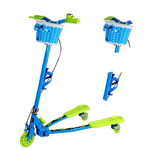 GNSDA Swing Kids 3 Wheels Scooter, 6 Höhenverstellungen und Faltbarer, treibender Wiggle Selbstfahrender Scooter mit Korb und Getränkehalter für Kinder von 4-12 Jahren (Getränkehalter Für Scooter)