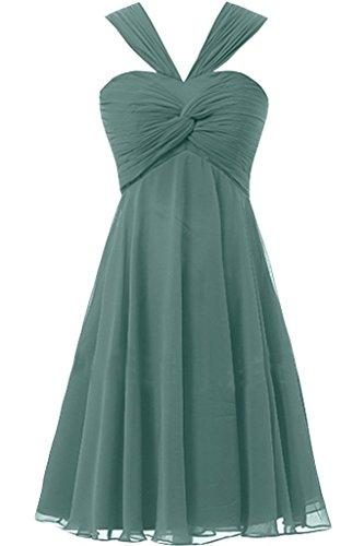 Sunvary Sbuffi Prom A-line Chiffon con collo A V, da damigella Homecoming Gowns Cadetblue