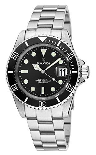 Kronos - Sport Q 200MTS Black 992.8.55 - Reloj Diver de caballero automático, brazalete de acero, color esfera: negra