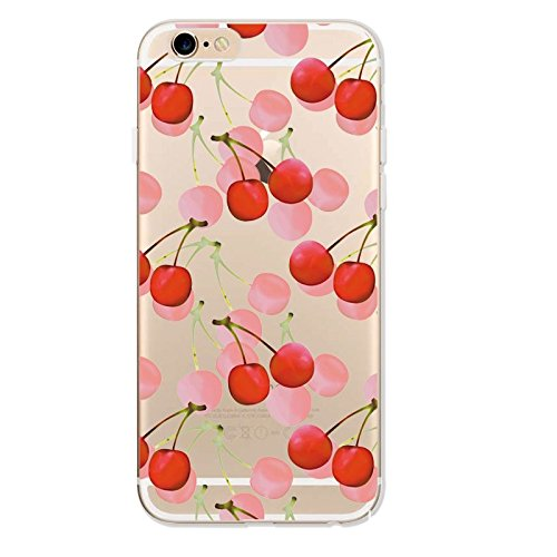 "CoqueiPhone 7 Etui Housse,BoomTeck Coque Pour 4.7"" Apple iPhone 7 Silicone Souple Transparente Motif Clear Ultra Mince Anti Choc Anti-rayures Gel TPU Etui Protection Bumper Case Fruit Mignon Cerise 05"
