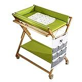 Klappbarer Wickeltisch Wickeltisch | Kommode | Fächer | Faltbare Tragbare | Cross Leg Style | 80 cm (L) X 56 cm (B) | 4 Höhenverstellbar-80/85/90 / 95cm (Farbe : Green)