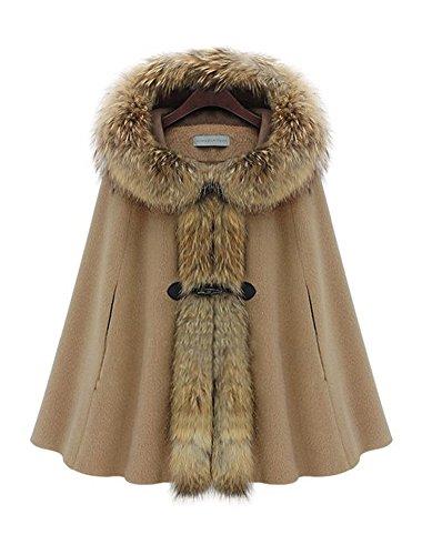 Queenshiny® Damen Wolle und Kaschmir Mantel Jacken Poncho Cape mit Waschbär pelz Kragen Mit Kapuze Braun 42 (Echte Pelz-mäntel Für Frauen)