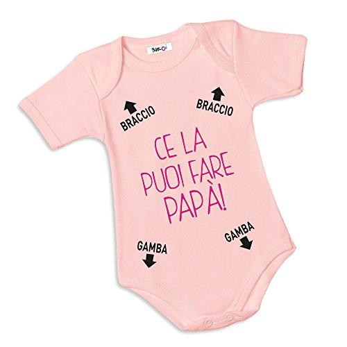 Babloo Body Neonato Bodino CE La Puoi Fare Papa Rosa