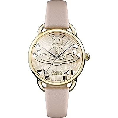Vivienne Westwood Women's Quartz Watch with Pink Dial Analogue Display and Pink Leather Strap VV163BGPK