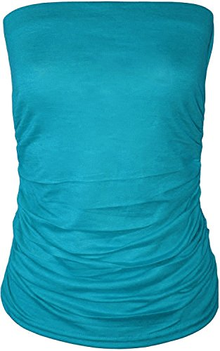 Frauen Plus Size Geraffte Seiten Plain Boobtube Oben Türkis