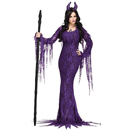 MHPY HalloweenLila böse Hexe Kostüm Cosplay Deluxe Fairytale Demon Langarm Kleid Devil Kostüm Bühnenoutfit (Deluxe Bösen Kostüm)