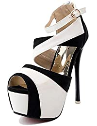 GLTER Mujeres Ankle Strap Corte Zapatos Verano Color Lucha De Tacón Alto Zapatos Sandalias Pie Era Delgado Peep Toe Hollow Shoes Bombas , white , 38