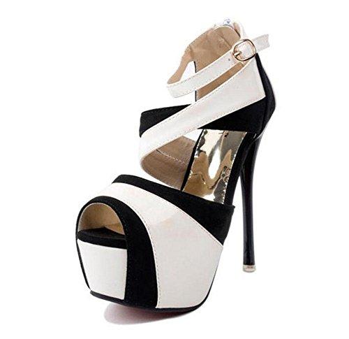 GLTER Frauen Knöchel Strap Court Schuhe Sommer Farbe Kampf High-Heels Schuhe Sandalen Fuß war dünne Peep Toe Hollow Schuhe Pumps White