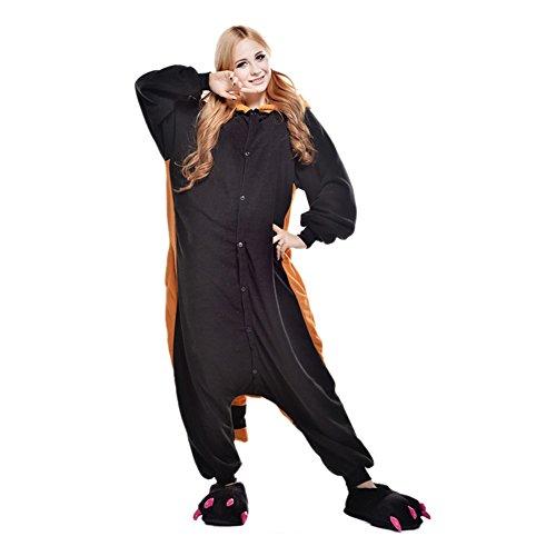 LPATTERN Unisex-Erwachsene Cosplay Pyjamas Onesie  Tier Kostüm Schlafanzug Jumpsuit für Halloween Karneval, Waschbär, Small (Korpergröße 146-159CM)