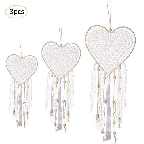 3 Stück Herzform Dreamcatcher Handgemachte Traumfänger Traditionelle Wandbehang mit Handweberei Quaste Gewebte Ornamente für Schlafzimmer Kinder Jungen Mädchen Zimmer Weiß