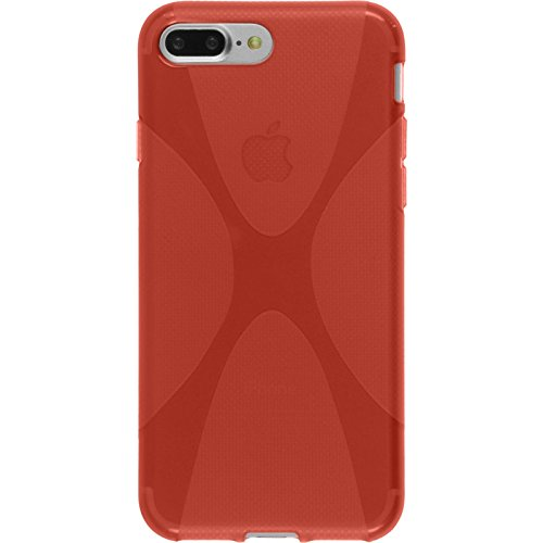 PhoneNatic Case für Apple iPhone 8 Plus Hülle Silikon schwarz X-Style Cover iPhone 8 Plus Tasche + 2 Schutzfolien Rot