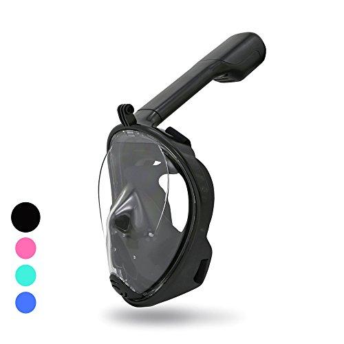HG® Tauchermaske,Profi Tauchermaske/Taucher Maske/Profi Vollmaske-Seaview180°-Freebreath-mit größerer Sichtfläche-Schnorchelset für GoPro-für Erwachsene Taucher