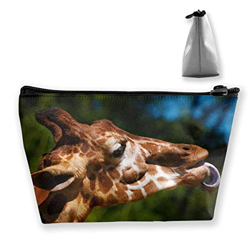 Giraffe Sticking Tongue Out Makeup Bag Large Trapezoidal Storage Travel Bag Wash Cosmetic Pouch Pencil Holder Zipper -