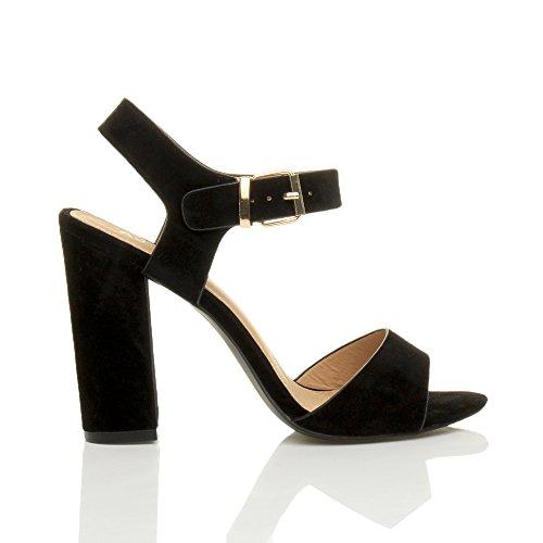 Ajvani Femmes Haute Talon Fête Élégant Boucle à Lanières Sandales Chaussures Pointure Daim Noir