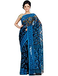 RLB Fashion Women's Cotton Silk Saree (Rlb-00125_Black & Blue)